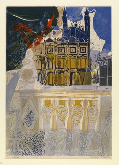 Clare and Kings by Michael Rothenstein | Linocut print, 1957 | This print depicts King's College Chapel and Clare College from The Backs. The bold use of colour, together with the varied use of textures, gives a more dramatic turn to what is often depicted as an idyllic Cambridge scene