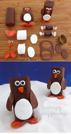 Use Hostess cakes and tootsie rolls to make these snow cake penguins.