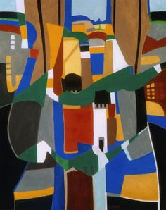 Cityscape IV Budapest, 2005. By Françoise Gilot (France, born 1921). Oil on canvas.
