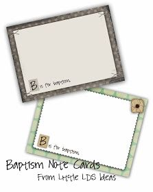 Baptism note cards to be filled out while child is changing... love the idea!