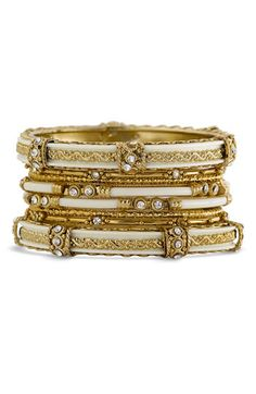 Antique Gold/White India Bangles