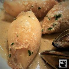 Calamares rellenos de muselina de pescado