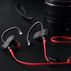 Get up and go with these Bluetooth wireless headphones. The over ear hooks help keep them firmly in place during your activities. They're also lightweight and sweat-proof so they're ideal for exercise, hiking or any other intense activity. Includes on-cable function for Volume+, Volume-, Next Song, Last Song, Mic, Call Answer, and Charging Port.