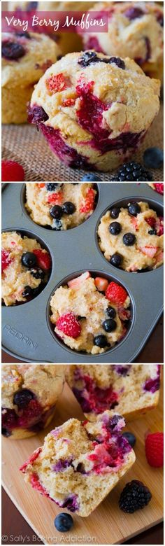 Jumbo Bakery-Style Very Berry Muffins, exploding with juicy berries in every single bite!