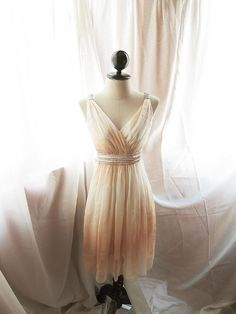 Goddess Soft French Creamy Apricot Romantic Marie Antoinette Empire Chiffon Dress / Gown