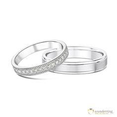 Eheringe im Vintage-Design aus Weißgold. Mémoire-Diamantring mit Milgrain-Rand. #Trauringe #Vintage #Hochzeit #Diamanten
