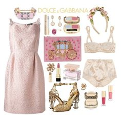 """""""Dolce & Gabbana: Pink Cinderella"""" by twinkle-twin ❤ liked on Polyvore featuring Dolce&Gabbana, gold, Pink, pretty and feminine"""