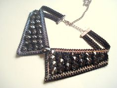 Peter Pan Collar Necklace Black Collar Necklace Beaded by bypasha, $30.00