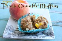 Vegan peach crumble muffins