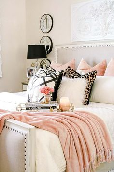 Cozy up on this modern bed for autumn! Pink, leopard, and faux fur for autumn! Welcoming Fall Home Tour 2017 - Glam Fall Bedroom - Randi Garrett Design Glam Master Bedroom, Fall Bedroom, Diy Home Decor Bedroom, Woman Bedroom, Diy Home Decor On A Budget, Small Room Bedroom, Bedroom Furniture, Bedroom Ideas, Bedroom Headboards