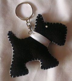 Black Felt Scottie Dog Keyring