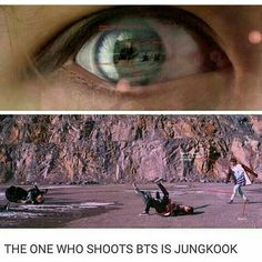 yeah if you watch throughout the video, jeongguk keeps 'shooting' at the camera
