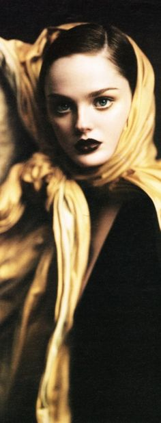 Lisa Cant wears Gaultier Paris, photographed by Paolo Roversi for W Magazine, October 2004