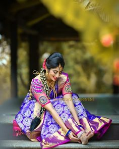 Check Out This Brand For Exceptional Bridal Collections Blouse Back Neck Designs, Saree Blouse Designs, Blouse Patterns, Royal Blue Blouse, Wedding Silk Saree, Wedding Photoshoot, Photoshoot Ideas, Kanchipuram Saree, Silk Sarees