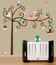 Childrens wall decals - nursery wall tree with owl decals - pink, turquoise, orange - 0331