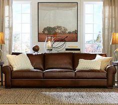 Turner Leather Roll Arm Sofa #potterybarn  wi