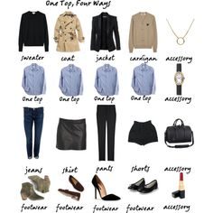 """one top, four ways"" by divinidylle on Polyvore"