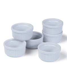 These ramekins are perfect for presenting beautiful desserts or keeping ingredients separate. Includes six ramekinsHolds 5 oz.PorcelainDishwasher safeImported