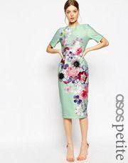ASOS Petite | ASOS PETITE Vintage Winter Floral Midi Bardot Dress at ASOS