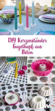 DIY Gugelhupf kerzenständer aus Beton gießen - DIY Deko fürs Gartenfest