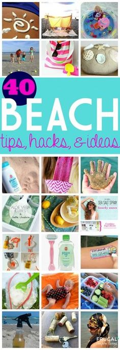 Beach Trip Tips and Hacks for your family vacation ideas. DIY crafts, beach art, beauty and skin tricks, and more on Frugal Coupon Living. Useful Life Hacks, Life Hacks Beach Trip Tips, Beach Hacks, Beach Ideas, Beach Vacations, Beach Trip Packing, Beach Travel, Family Vacations, Beach Camping Tips, Myrtle Beach Vacation