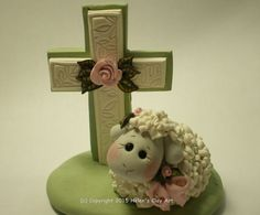 Polymer Clay Lamb with a Cross Easter Scene by by HelensClayArt