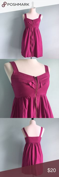 Magenta Fit & Flare Dress Magenta pink-purple dress with v-neck and little pleats on neckline. Zipper down the front. Fit & flare shape. Size small by BeBop. Flattering and comfortable. BeBop Dresses