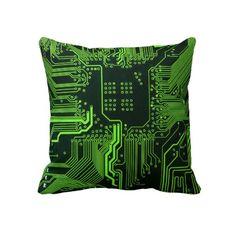 Cool Circuit Board Computer Green Pillows