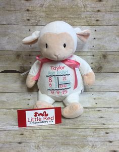 Cubbies lamb with custom embroidery  https://www.etsy.com/listing/242572429/baby-cubbies-personalized-stuffed-lamb