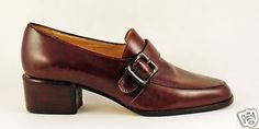 Enzo-Angiolini-Brown-Leather-Slip-On-Loafers-Sz-7-M-Buckle-1-5-Chunk-Heels-LN
