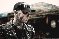 Skeletal tattoo. Russia. by lanapavlova  he looks awesome. - I'm thinking this would be awesome face paint for Halloween.