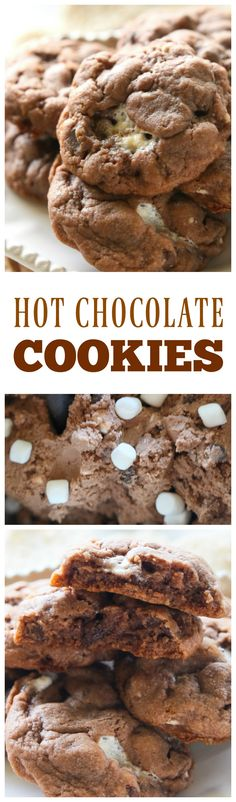 Hot Chocolate Cookies - dough made with hot chocolate mix. milk chocolate chips, semi-sweet chocolate chips, and mini marshmallows. These cookies stay soft for days. the-girl-who-ate-everything.com