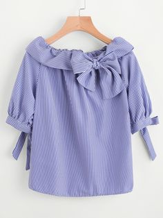 Shop Fold Over Neckline Pinstripe Bow Tie Detailed Top online. SheIn offers Fold Over Neckline Pinstripe Bow Tie Detailed Top & more to fit your fashionable needs. Stylish Dresses For Girls, Casual Dresses, Fashion Dresses, Pakistani Fashion Party Wear, Girl Outfits, Cute Outfits, Fancy Tops, Clothing Hacks, Western Outfits