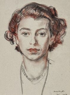 Girlish beauty: The rare sketch shows the Queen - then a princess - at 23 The Queen, right, said she fondly remembered sitting for the artist