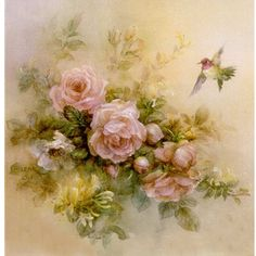 "Lena Liu ""Roses with Anne"" floral print by watercolor artist Lena Liu is signed numbered"
