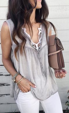 summer outfits Grey Tank + White Skinny Jeans