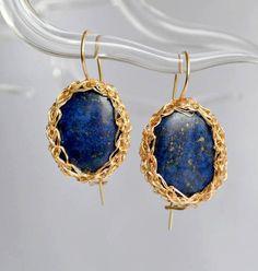 Lapis lazuli crochet earrings, blue and gold earrings, bridesmaids gift
