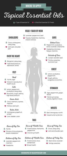 Where To Apply Topical Essential Oils http://www.bulkapothecary.com/blog/essential-oil-benefits/where-to/