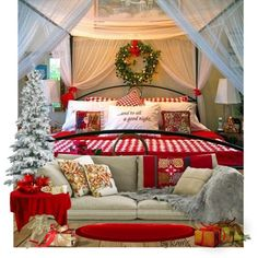 Christmas Bedroom Decor by ramc on Polyvore featuring polyvore, interior, interiors, interior design, home, home decor, interior decorating, bedroom, red and decor.