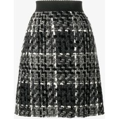 Dolce & Gabbana Wool Blend Tweed A-Line Skirt ($535) ❤ liked on Polyvore featuring skirts, tweed skirt, patterned skirts, print skirt, embellished skirts and a line skirt