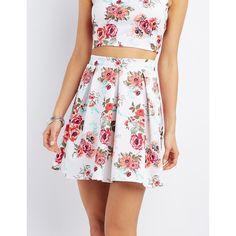 Charlotte Russe Floral Print Pleated Skater Skirt ($25) ❤ liked on Polyvore featuring skirts, multi, flared skirt, circle skirt, knee length pleated skirt, pleated skater skirt and skater skirt