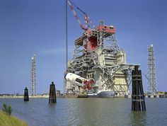 Archive: Apollo Saturn S-IC Rocket Stage on Test Stand, 1968 (NASA, Space Launch System, 04/29/13) by NASAs Marshall Space Flight Center, via Flickr