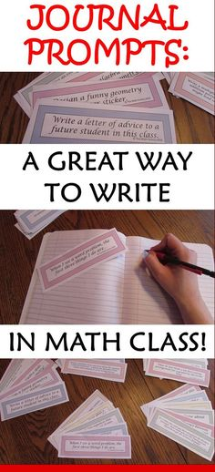Math Journal Prompts - Grade - Great for Interactive Notebooks! An easy way to add writing to your math classroom! These prompts are appropriate for almost any class from grade. Math Journal Prompts, Math Notebooks, Interactive Notebooks, Math Writing Prompts, Kids Writing, Math Teacher, Math Classroom, Teaching Math, Teaching Ideas