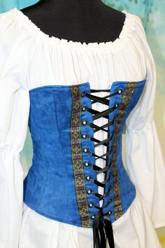 Royal Blue Overbust Corset for Renassance by LadyLilyOriginals, $125.00.  Wear with a red skirt & this makes a Snow White costume!
