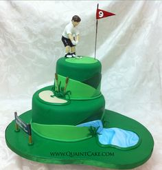 Making this for Banny Bear (Robert) Golf Groom's Cake - why is it a grooms cake? Why don't they just have a weeding cake? Golf Birthday Cakes, Sports Themed Cakes, Golf Cakes, Fancy Cakes, Cute Cakes, Pink Cakes, Golf Grooms Cake, Groom Cake, Beautiful Cakes