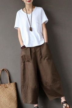 Coffee Loose Cotton Linen Casual Ankle Length Pants Women Clothes - Business Casual Outfits for Women Fashion Mode, Fashion Outfits, Womens Fashion, Fashion Trends, Ladies Fashion, Fashion Clothes, Fashion Ideas, Fashion Night, Cheap Fashion
