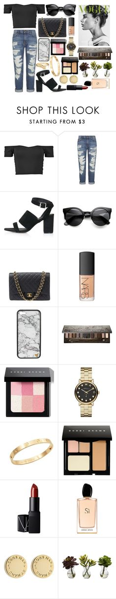 """""""how to style: a off the shoulder tops"""" by zoemoecker ❤ liked on Polyvore featuring Current/Elliott, Topshop, Chanel, NARS Cosmetics, Urban Decay, Bobbi Brown Cosmetics, Marc by Marc Jacobs, Cachet, Giorgio Armani and Nearly Natural"""