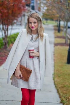 white dress and coat with red tights. party, elegant
