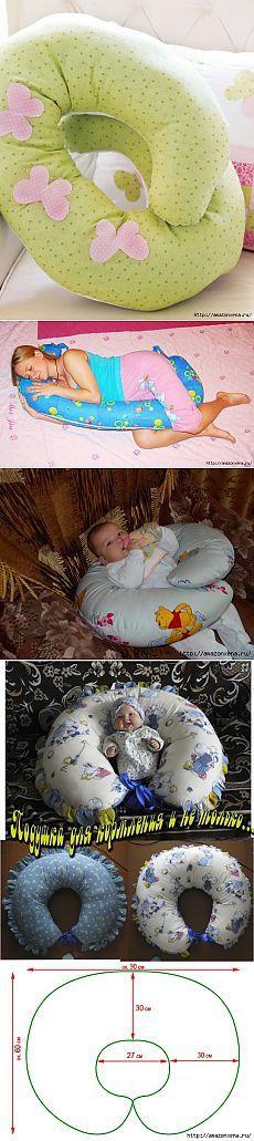 Coser la almohada para alimentar al bebé.  Patrón y pequeños n.