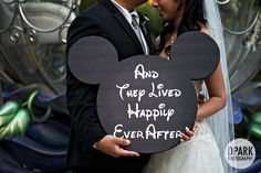 """mickey mouse fairy tale wedding ceremony sign detail idea - """"And they lived happily ever after"""" Disney fairy tale Disneyland wedding Wedding Ceremony Signs, Hotel Wedding, Dream Wedding, Disney Inspired Wedding, Wedding Disney, Disney Weddings, Fairytale Weddings, Disney Wedding Shower Ideas, Intimate Weddings"""